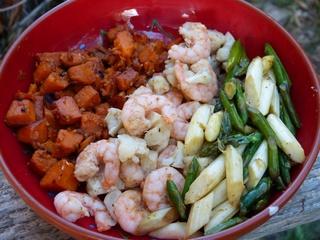 Power bowl aux crevettes, patates douces et asperges Recett11