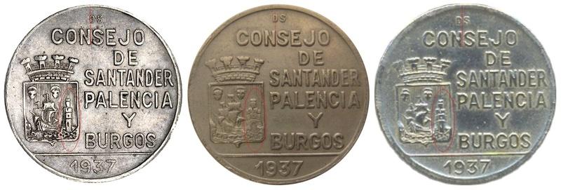 1 peseta 1937. Consejo de Santander, Palencia y Burgos. Variantes Compar12