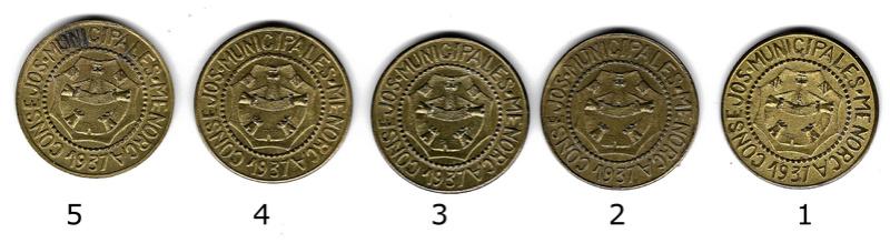 25 Céntimos de los Consejos Municipales de Menorca Cruz10