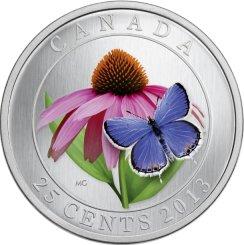 25 centavos de Canadá. 2013. Serie Flora canadiense grabada y pintada con insectos 258a10