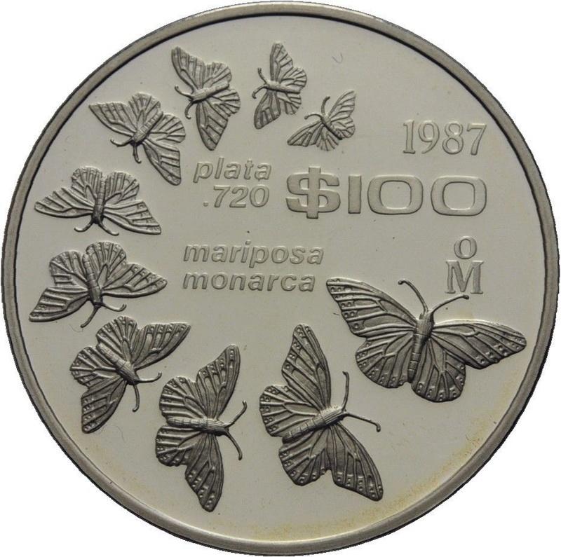 100 pesos de plata, conmemorativa Mariposa Monarca. México. 1987 32811