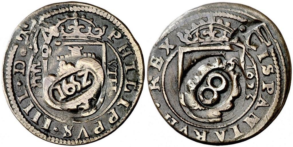 Felipe IV Resellos a XII de 1641-2 y 8 de 1652.sobre 8 maravedís de Segovia 31968810
