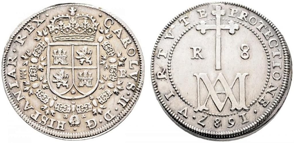 8 reales de Carlos II Segovia 1687 Tipo MARIA 36771510