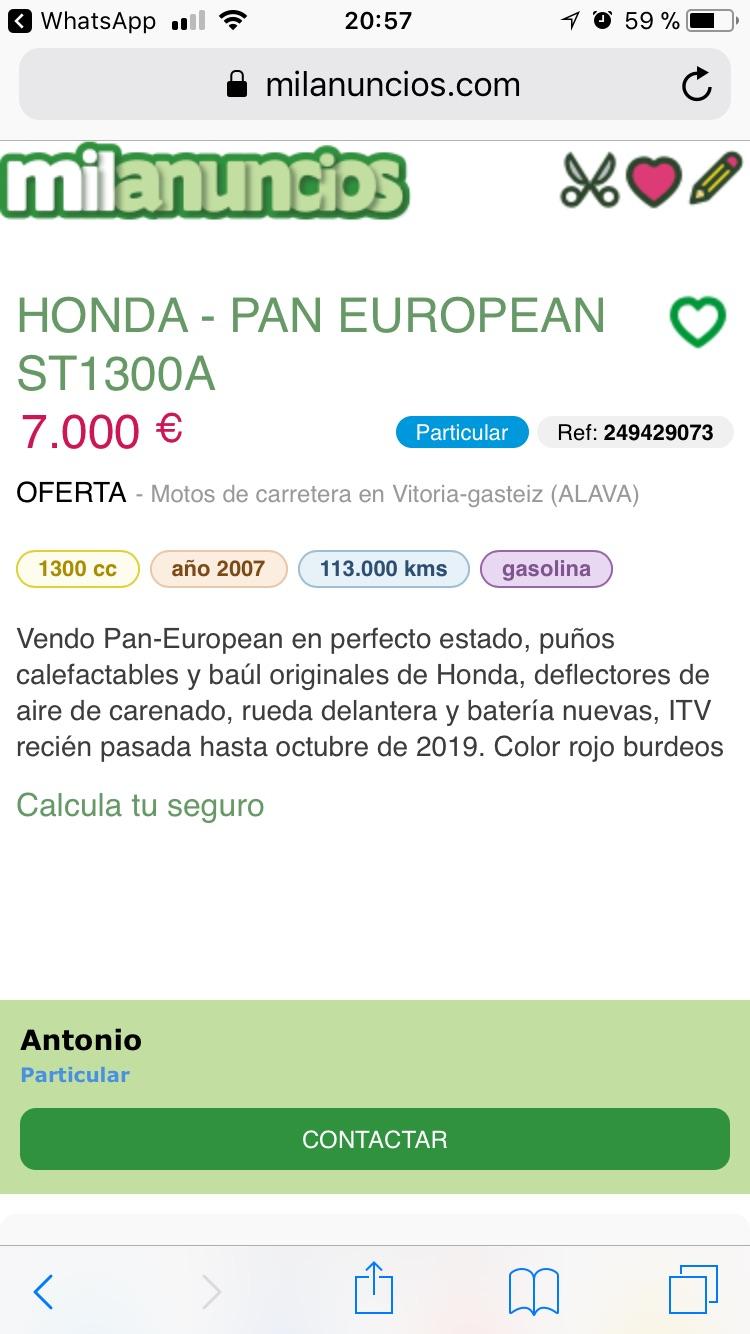 En venta Hondapaneuropean st1300 Vitoria  17320510