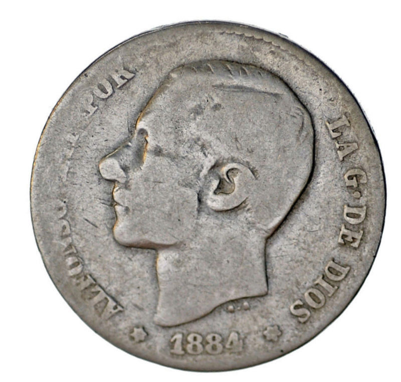 Peseta de 1884 Alfonso XII Lll10
