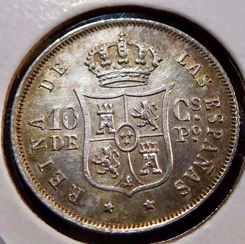 10 centavos de peso. 1868 Manila, Isabel II 096c5610
