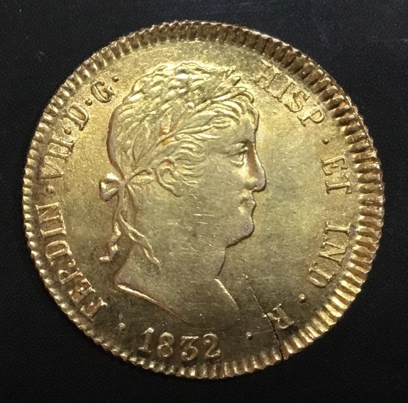 2 escudos 1832 AJ  Madrid. Fernando VII 1256e310