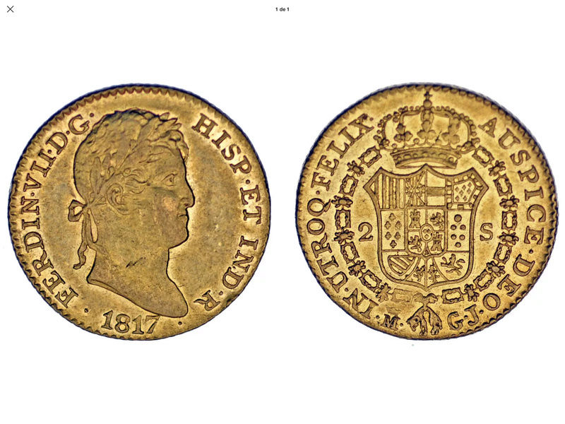 2 escudos 1817  GJ, Madrid Fernando VII 2ed93410