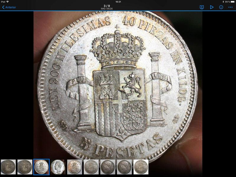 5 pesetas 1871. Amadeo I. Variante base de la columna corta 48301310