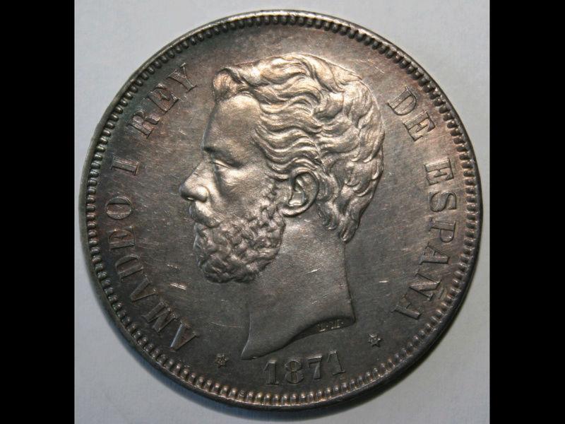5 pesetas 1871. Amadeo I. Variante base de la columna corta Eb4b6910