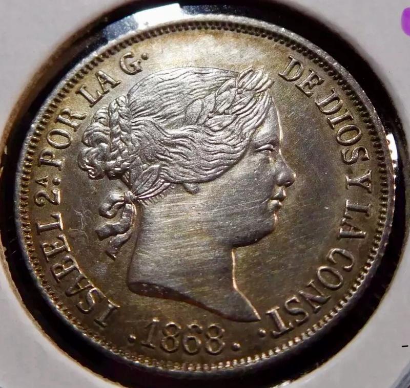 10 centavos de peso. 1868 Manila, Isabel II F705ef10