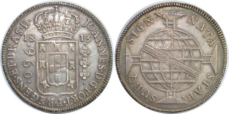 960 Reis reacuñada en Brasil en 1813 sobre un 8 Reales mejicano de Carlos IIII 960_re10