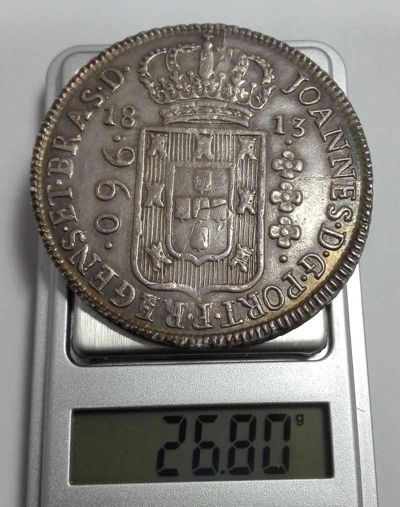 960 Reis reacuñada en Brasil en 1813 sobre un 8 Reales mejicano de Carlos IIII 960_re15