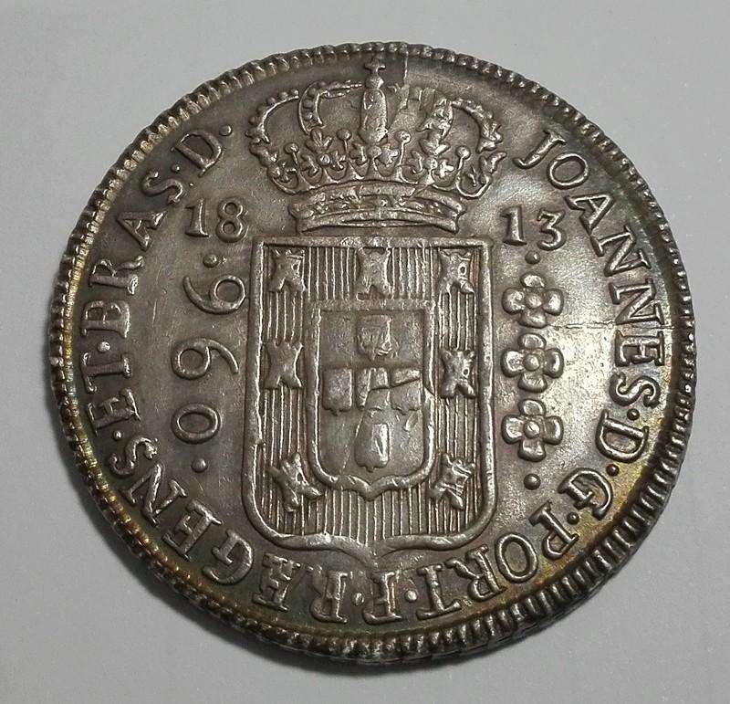 960 Reis reacuñada en Brasil en 1813 sobre un 8 Reales mejicano de Carlos IIII 960_re16