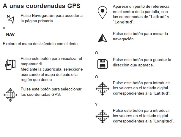 Buscar un lugar usando las coordenadas en el GPS Coorde10