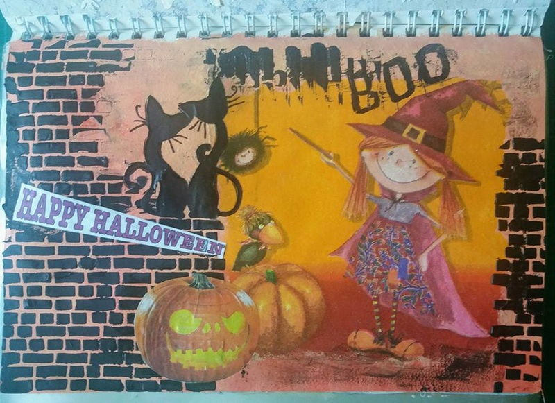 Provocare Art Journaling octombrie: Halloween page - Andreea Maria11