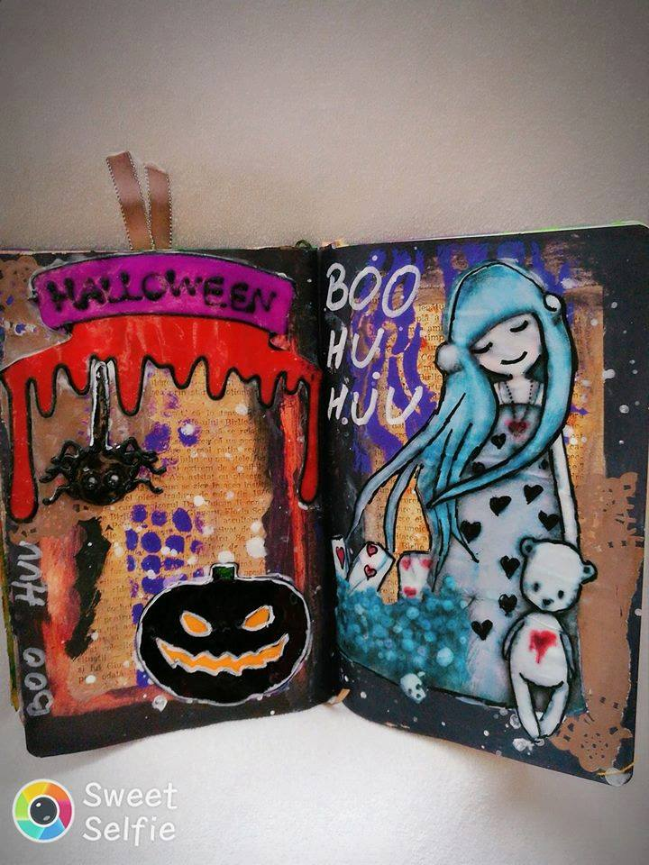 Provocare Art Journaling octombrie: Halloween page - Andreea Mihael12