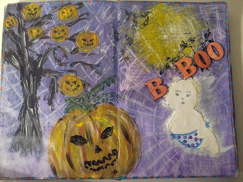 Provocare Art Journaling octombrie: Halloween page - Andreea Miozot11