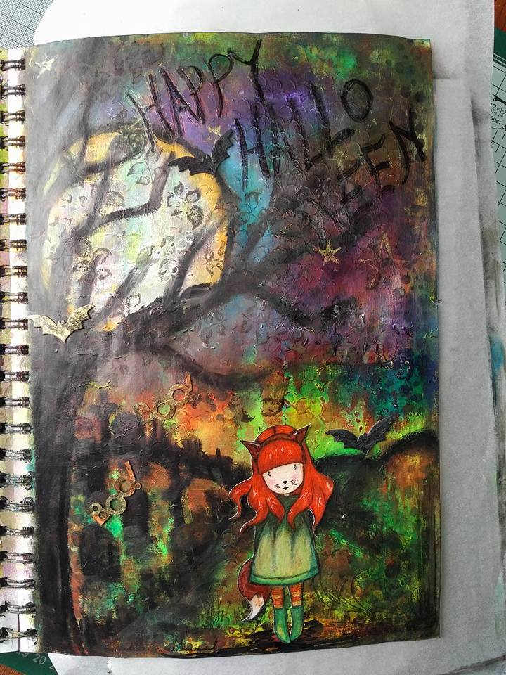 Provocare Art Journaling octombrie: Halloween page - Andreea Monica11
