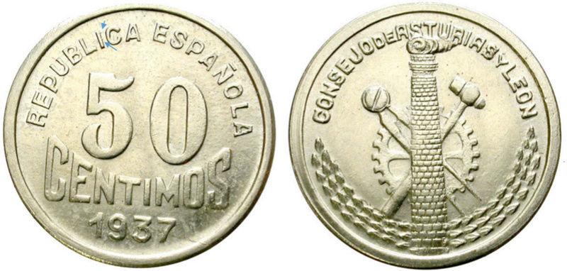 50 céntimos 1937. Consejo de Asturias y León. Guerra Civil A12