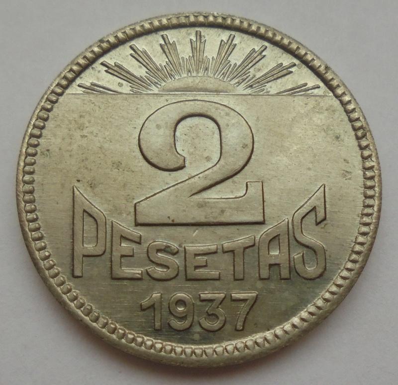 2 pesetas 1937. Consejo Asturias y León. Guerra Civil. Emisión Local Dsc07710