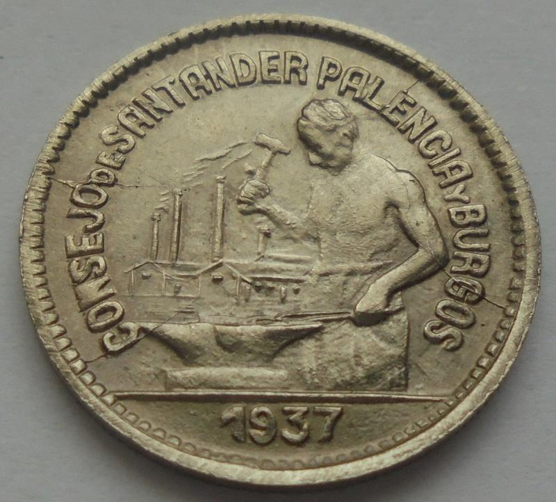 50 céntimos 1937. PJR. Consejo Santander, Palencia y Burgos. Guerra Civil Dsc09318