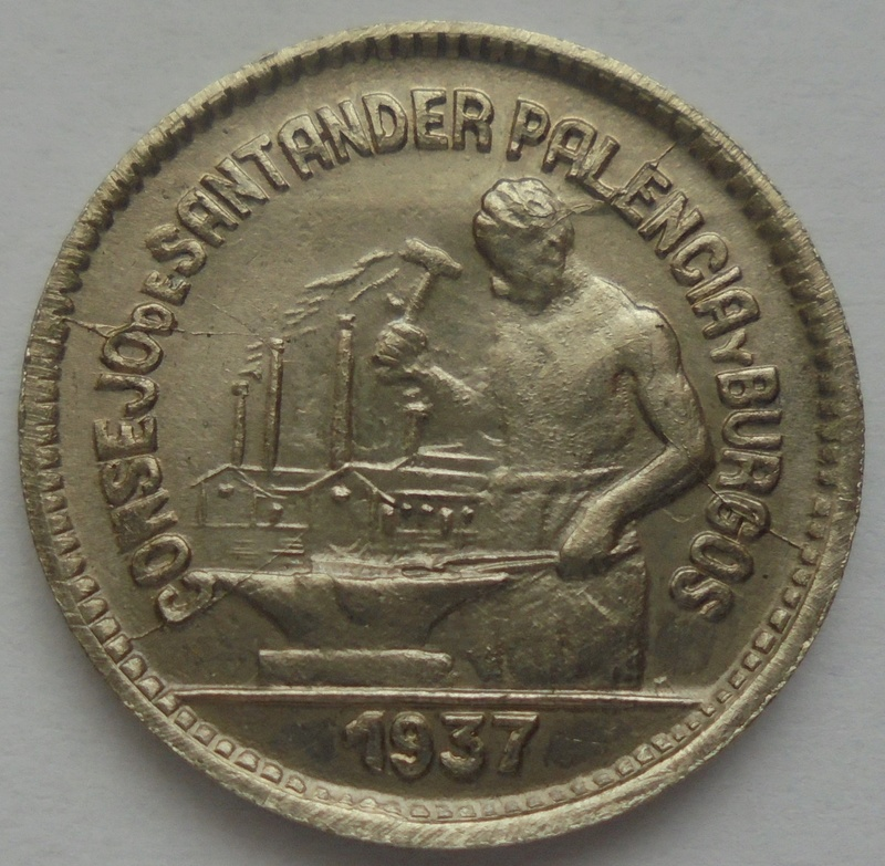 50 céntimos 1937. PJR. Consejo Santander, Palencia y Burgos. Guerra Civil Dsc09321
