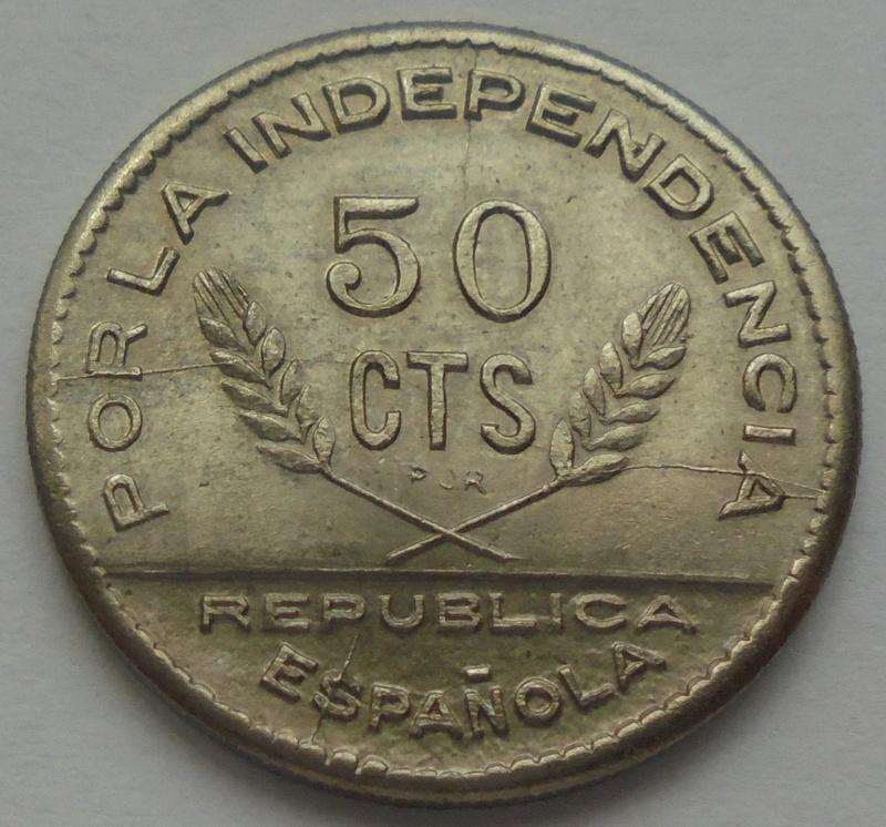 50 céntimos 1937. PJR. Consejo Santander, Palencia y Burgos. Guerra Civil Dsc09326