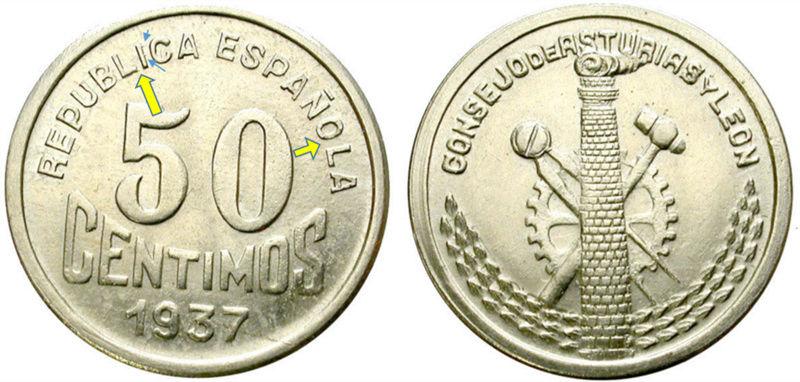 50 céntimos 1937. Consejo de Asturias y León. Guerra Civil M11