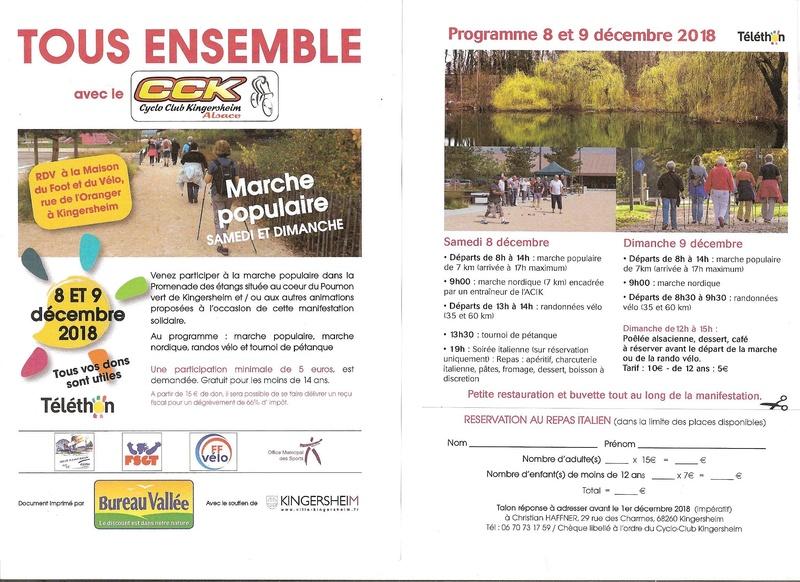 """A l'occasion du téléthon, le CCK organise un WE """"sportif"""", vélo, marche, marche nordique, pétanque.  Nous sommes cordialement invités à nous joindre à cette action Cck_ty10"""