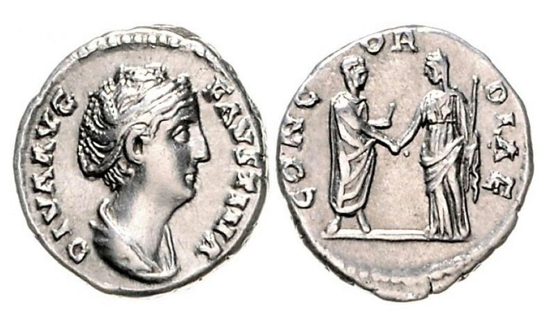 Denario de Faustina I. CONCORDIAE. Faustina I dando la mano a Antonino Pío. Roma. Img_2023