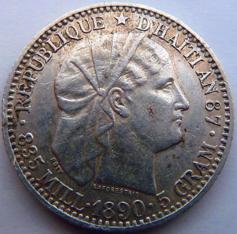 20 céntimos de gourde. Haití 1890 P1120912