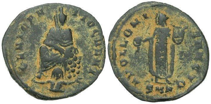 1/4 de Nummus anónimo atribuido al reinado de Maximino II Daza. APOLLONI SANCTO. Antioquía Image10