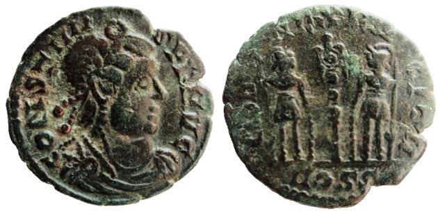 AE4 Imitativo de Constante. GLORIA EXERCITVS. Imita, ceca Constantinopla. Imitay11