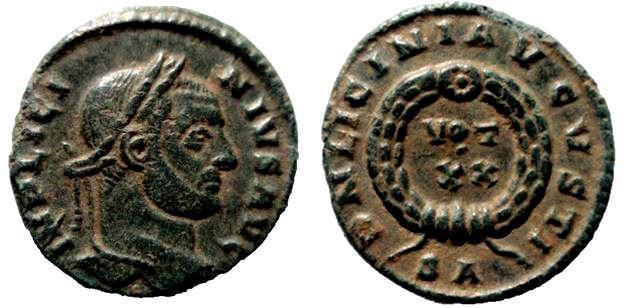 AE3 de Licinio I. DN LICINI AVGVSTI / VOT XX. Arlés Licini10
