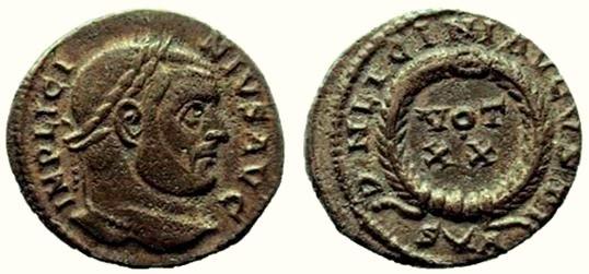 AE3 de Licinio I. DN LICINI AVGVSTI / VOT XX. Arlés Licini11
