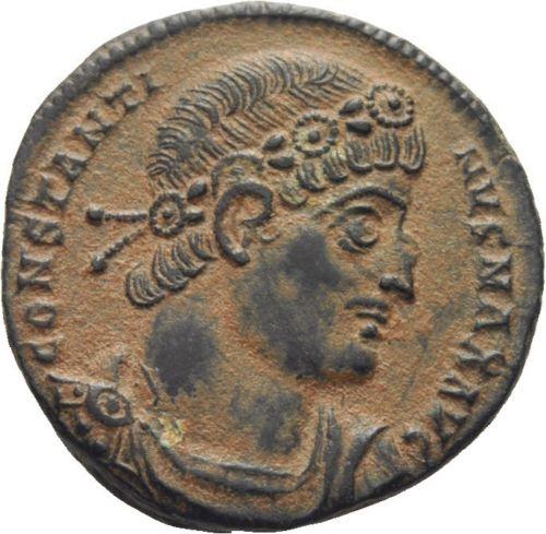 AE3 de Constantino I. GLORIA EXERCITVS. Antioquía Follin10