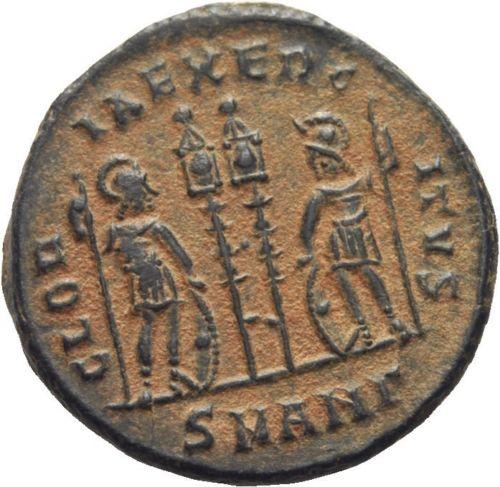AE3 de Constantino I. GLORIA EXERCITVS. Antioquía Follin11