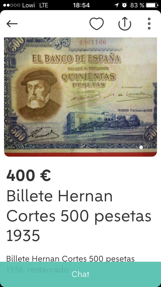 500 Pesetas 1935 (Hernán Cortés) - Anuncio Wallapop 18611610