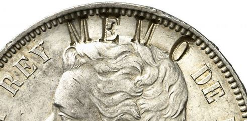 Resello MEMO en pesetas de Amadeo I.  Memo10