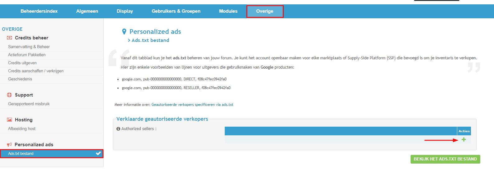 Verklaar geautoriseerde verkopers op uw forum met het ads.txt bestand Ads_tx10
