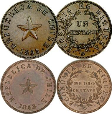 Juan Bainville, grabador monedas chilenas. Chile_13