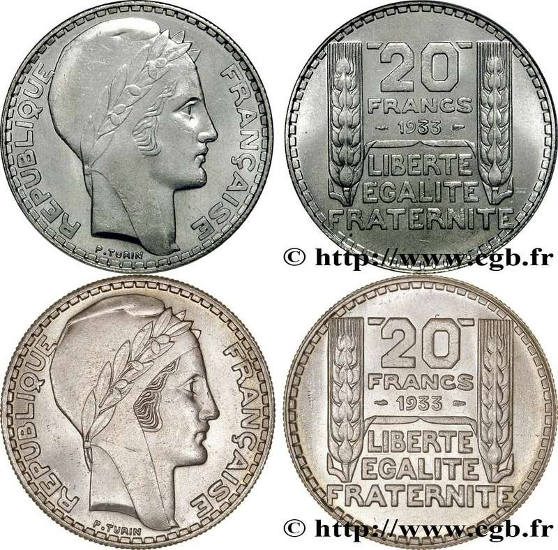 20 Francs. Francia. 1933 F400-v10