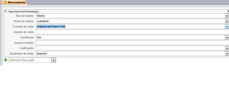 Exportação de arquivo. txt Macro_10