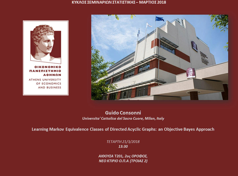 AUEB STATS SEMINARS 21/3/2018: Learning Markov Equivalence Classes of Directed Acyclic Graphs: an Objective Bayes Approach by Prof. Guido Consonni Conson10
