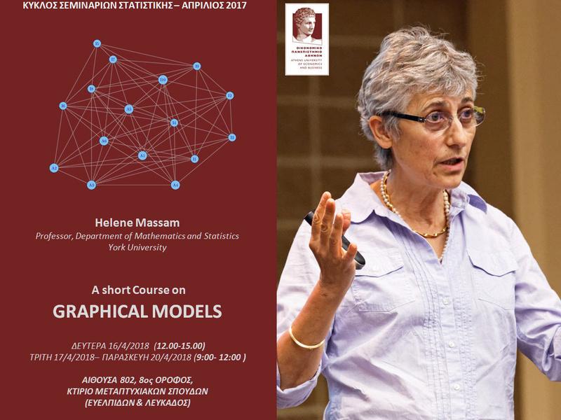 AUEB STATS SEMINARS 16-20/4/2018:   A short Course on GRAPHICAL MODELS by  Prof. Helene Massam Massam10