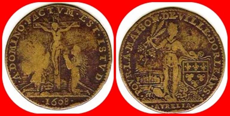 Jetón francés. Año 1608. Ville d'Orleans. 1608_p11