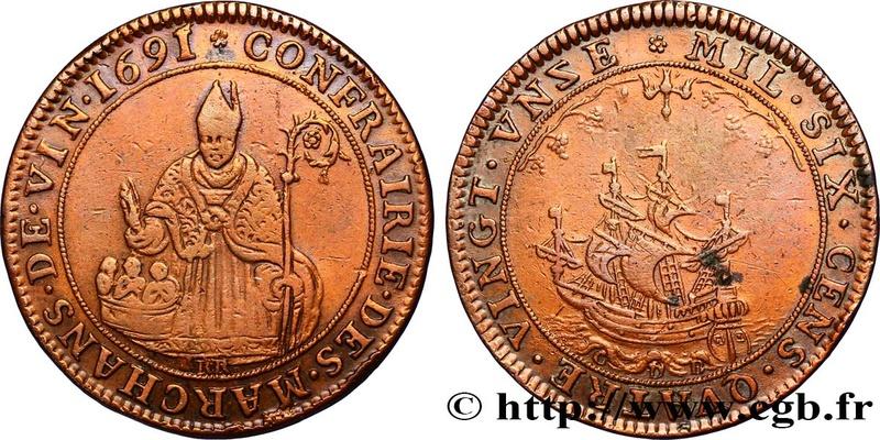 Curioso jetón francés del 1691 , obispo y barco Fjt_3210