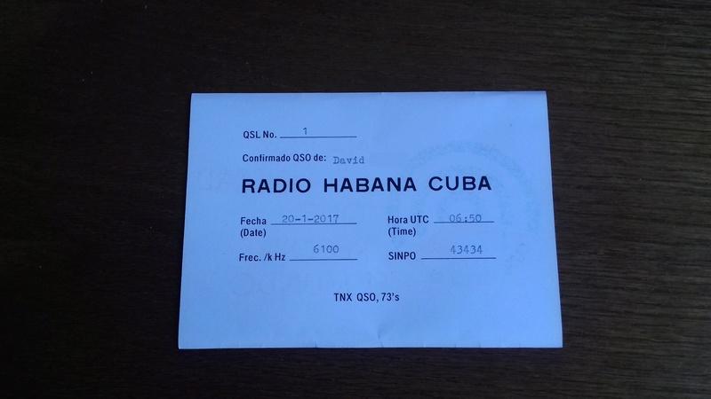 QSL RADIO HABANA CUBA 20171010