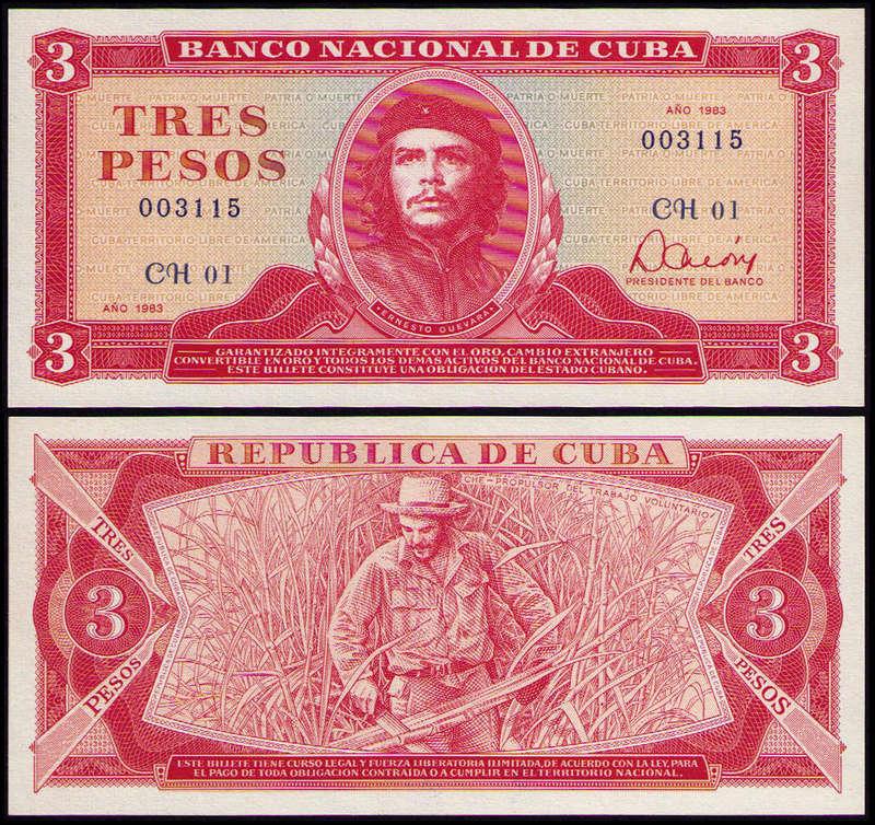 El Billete Cubano de 3 Pesos Cuba_310